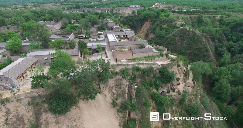 Aerial of a Ancient Small Village on Loess Plateau, Shanxi China