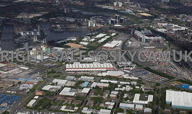 Manchester aerial photographs of The Village looking across Europa Way towards Manchester United Football Stadium Trafford Pa...
