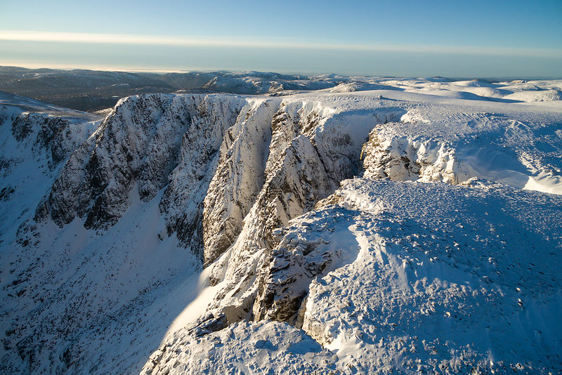 Mountain top encrusted in snow, west buttress of Lochnagar, Deeside, Cairngorms National Park, Scotland, UK, March 2017.