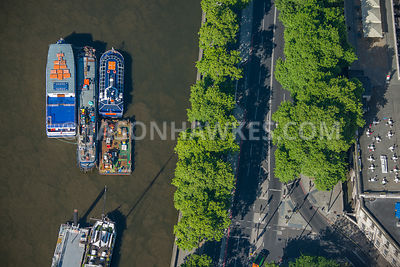 Aerial view of London close up of River Thames and Victoria Embankment