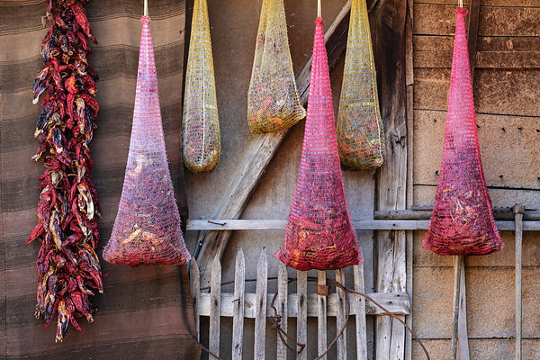 Drying Peppers Hanging in Bags