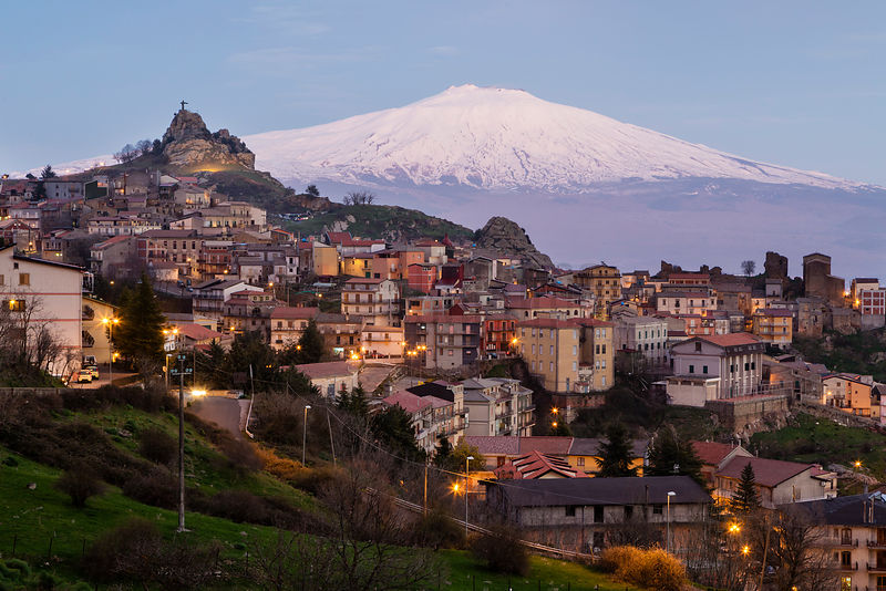 View of the Hill Town of Cesaró and Mt Etna at Dusk