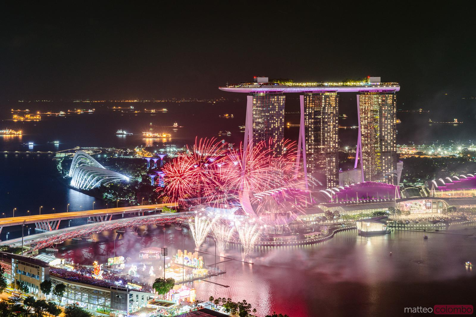 Chinese New year fireworks and Marina Bay Sands, Singapore