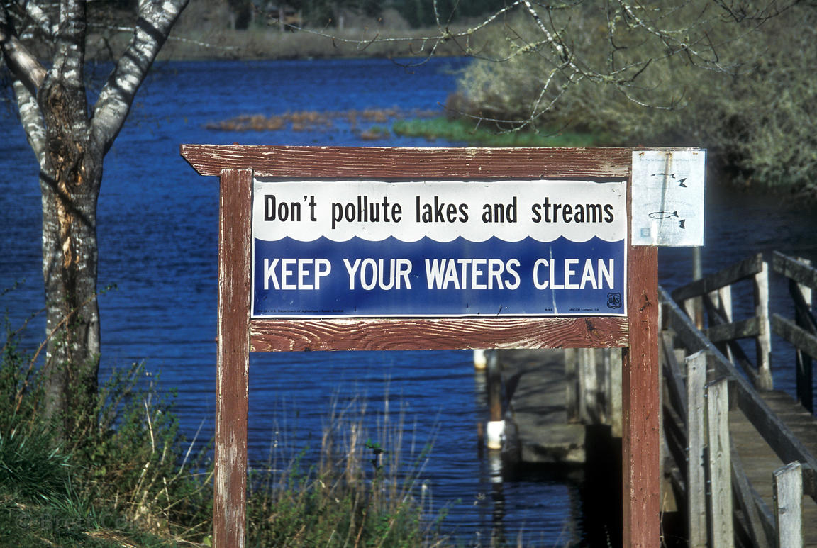 Sign imploring people to keep their waters clean, Sutton Lake, Oregon Coast.