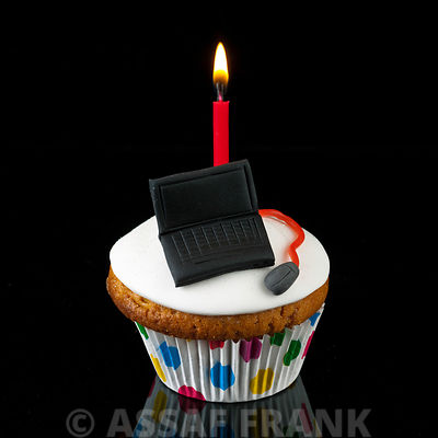 Cupcake with laptop shaped icing