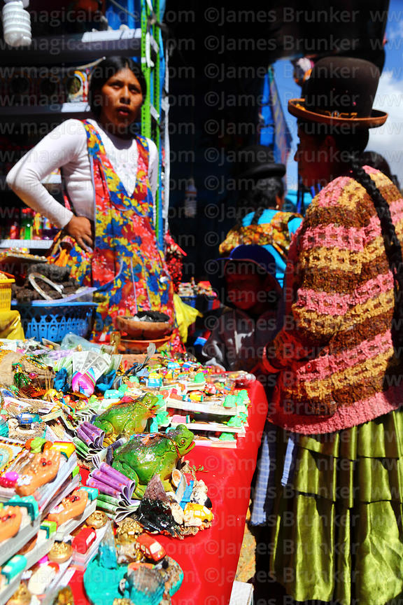Aymara lady shopping in market for Alasitas festival, Puno, Peru