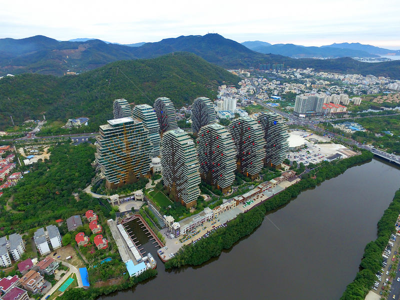Modern Buildings Of 5-Star Hotels In Day Time In Sanya City, China