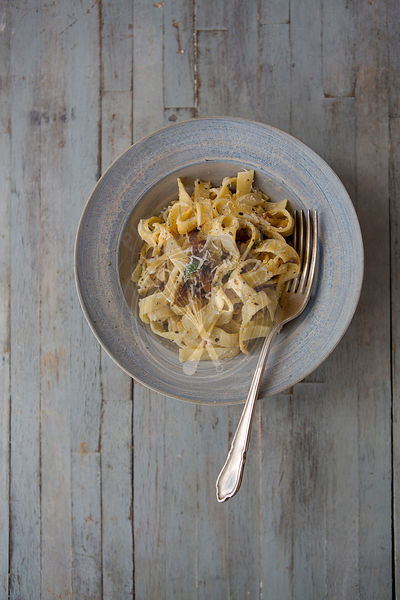 Bowl of Pasta with Caramalised Onions & Parmesan