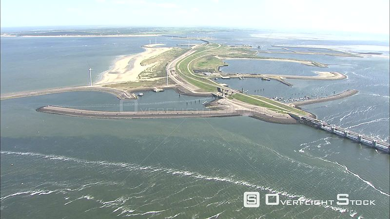 Bridge on Eastern Scheld storm barrier from the air, The Netherlands