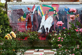 Mural of El Moto Méndez (L) with Simon Bolivar (centre) and Mariscal Andrés de Santa Cruz, Tarija, Bolivia