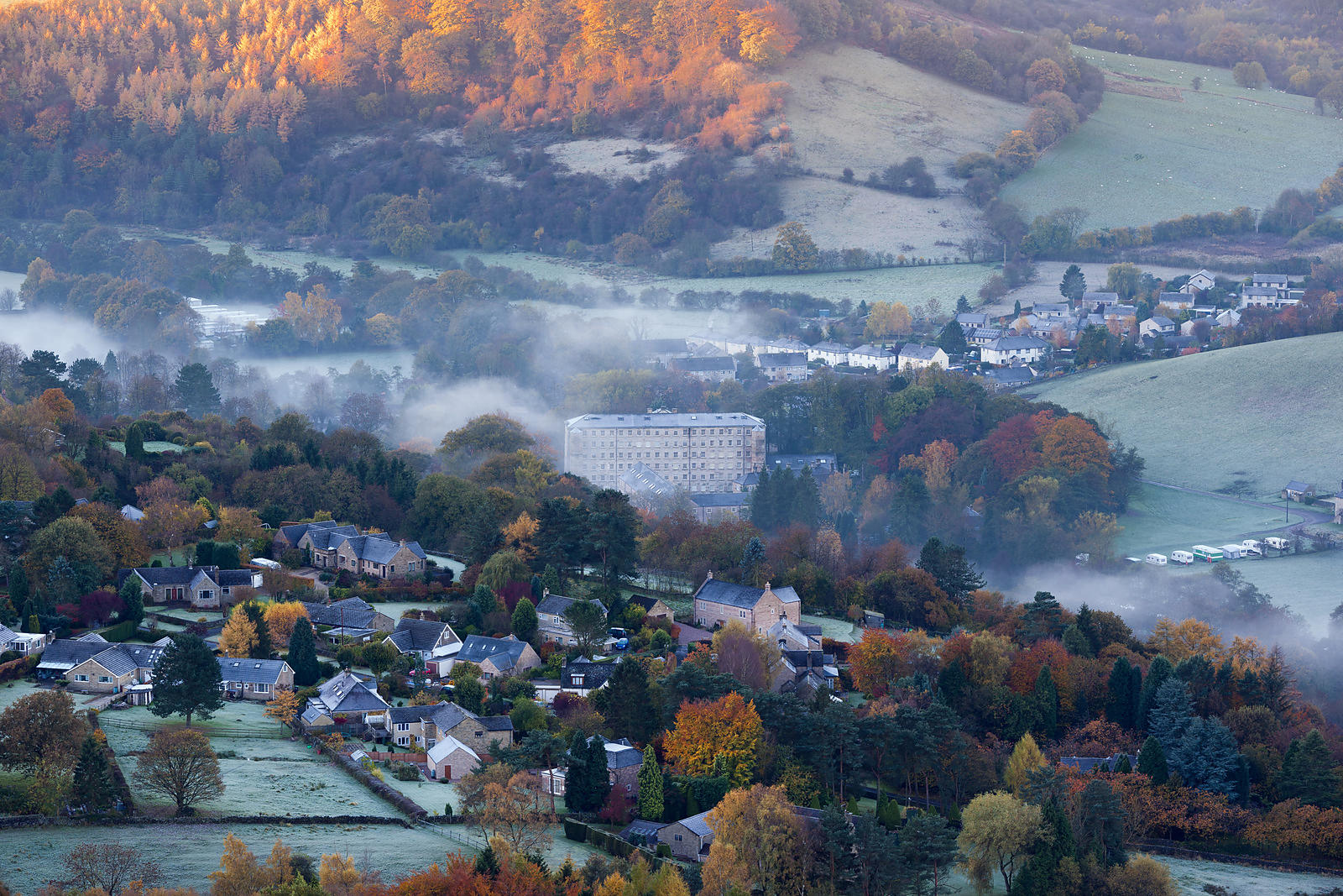 Autumn mist at Calver Mill