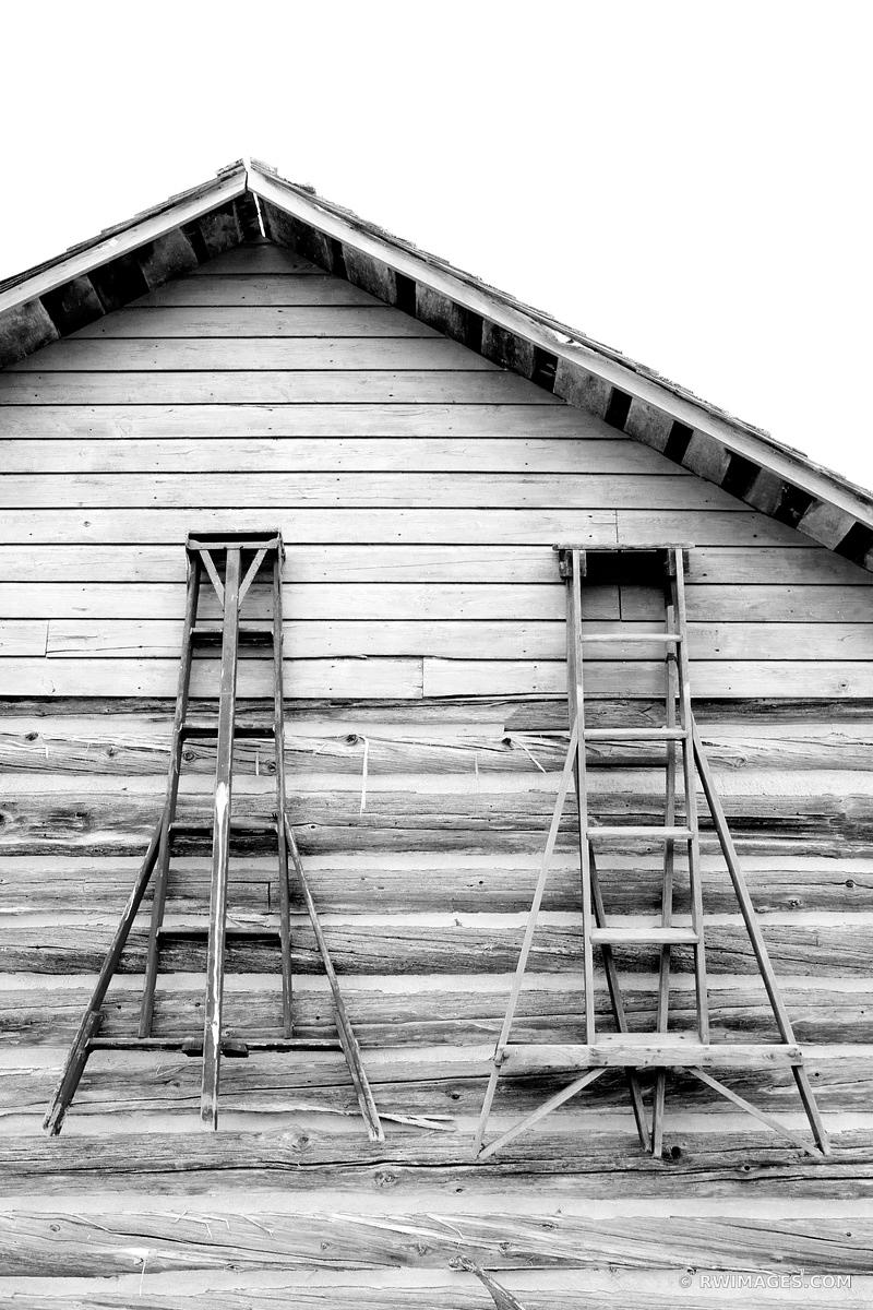 OLD HOUSE WITH FRUIT PICKING LADDERS DOOR COUNTY WISCONSIN BLACK AND WHITE