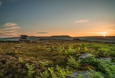 Burbage Moor sunrise with Higger Tor and Carl Wark