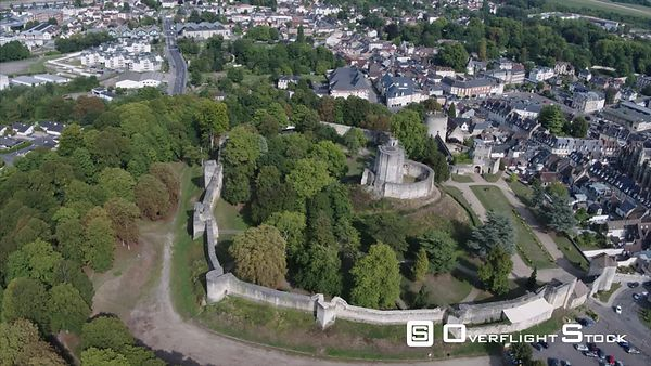 Castle of Gisors and its Feudal Mound, dating from the eleventh to the sixteenth century, Drone Video, Gisors, Normandy, France