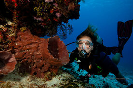 Woman scuba diver near barrel sponge in an overhang area of Tormentos Reef divesite, Cozumel, Mexico