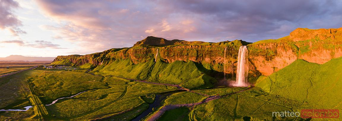 Aerial panoramic view of Seljalandsfoss waterfall at sunset, Iceland
