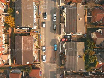Street Shot From Birds Perspective Near Liverpool's Toxteth Cemetery UK