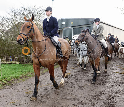 Marina Bealby leaving the meet. The Cottesmore Hunt at Launde Park Farm