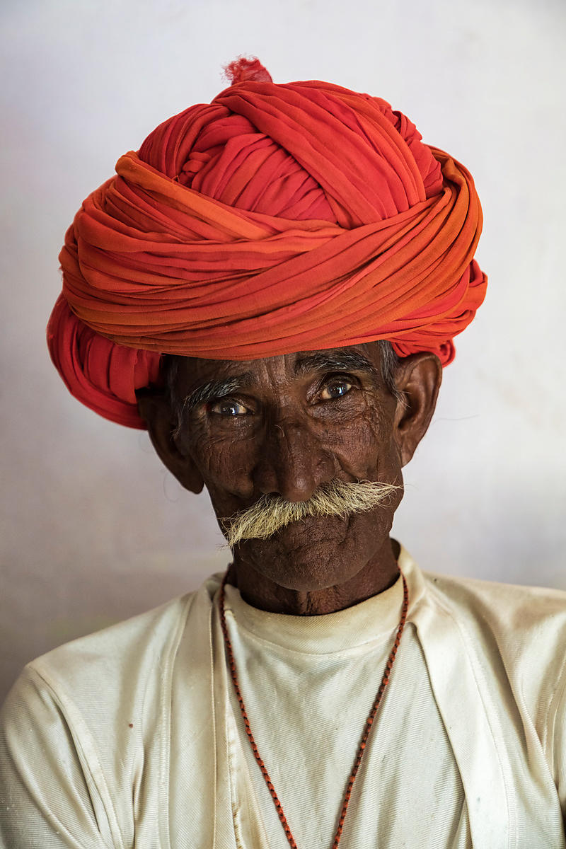 Portrait of a Rabari Herder with an Orange Turban
