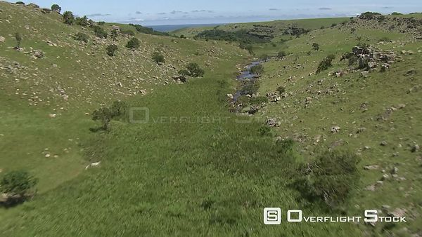 Aerial shot of the countryside next to the coastline KwaZulu Natal South Africa