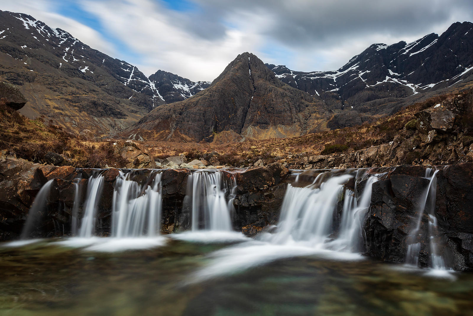 Waterfall in the Fairy Pools Natural Area with the Black Cuilins in the Background