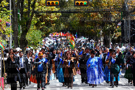 Civic groups during official parades for Dia del Mar / Day of the Sea, La Paz , Bolivia