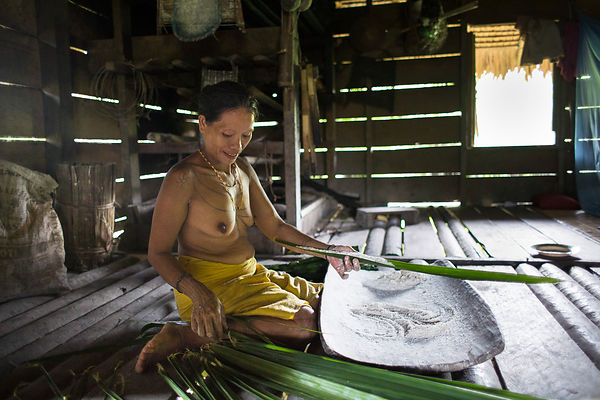 Woman preparing sago, Baitari, 38 years old, Pulau Siberut, Sumatra, Indonesia