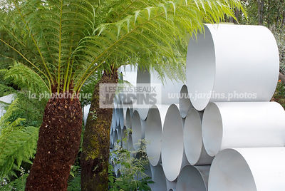Jardin tropical, Massif à l'ombre, Sculpture aluminium, Dicksonia antarctica Labill. (fougère arborescente), Soft Tree Fern, Man Fern, Tasmanian Tree Fern, Paysagiste Andy Sturgeon, CFS