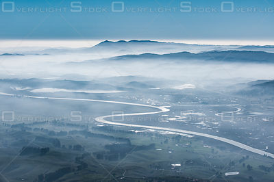 Petaluma River and Mount Tamalpais on a Foggy Winter Day