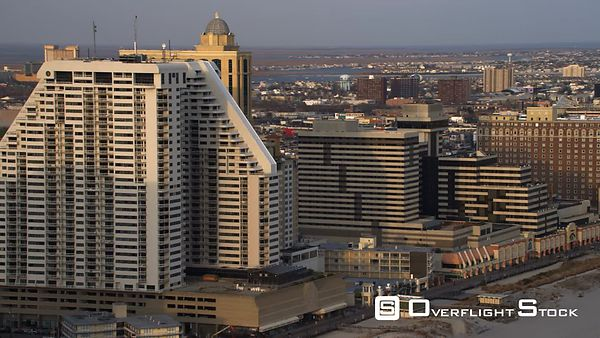 Aerial view of casinos and resorts in Atlantic City, NJ.