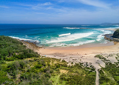 Remote surf beach on south coast of NSW Australia