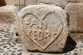 San Pedro and heart carved into stone outside entrance of St Peter / San Pedro church, Guañacagua, Region XV, Chile