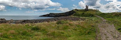 Dunstanburgh Castle coastal panorama