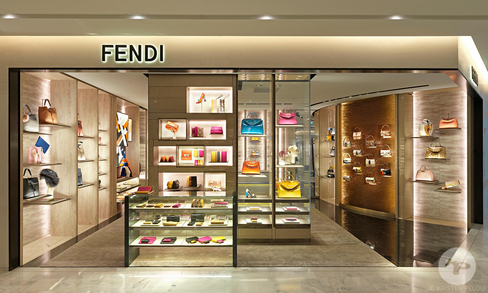 Retail architecture photographer - Fendi corner designed by Curiosity, Le Printemps Haussmann, Paris France. Photo ©Kristen P...