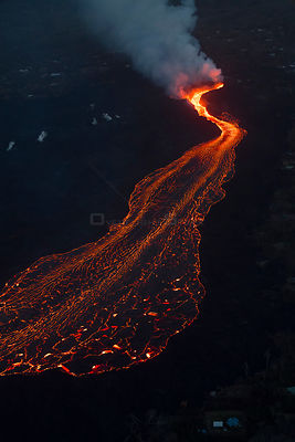 River of lava, erupting from fissure 8 of Kilauea Volcano, flowing towards Kapoho, Puna District, Hawaii. June 2018.