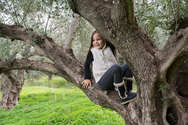 Alessandra, 7 ans, pose dans un olivier ayant plusieurs centaines d'années à Kritsa, Crète, Grèce / Alessandra, 7, poses in a several hundred years old olive tree in Kritsa, Crete, Greece