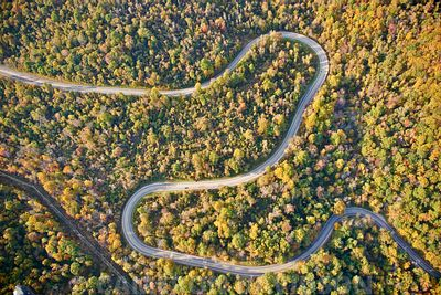 Aerial photograph of a Virginia Mountain Road