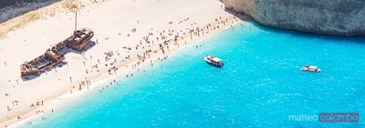 Panoramic of famous shipwreck beach. Zakynthos, Greek Islands, Greece