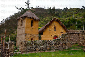 Historic adobe church at Markacocha, Patacancha Valley, Cusco Region, Peru