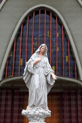 Statue of Virgin Mary in front of Santa Maria Reina church, Miraflores, Lima, Peru