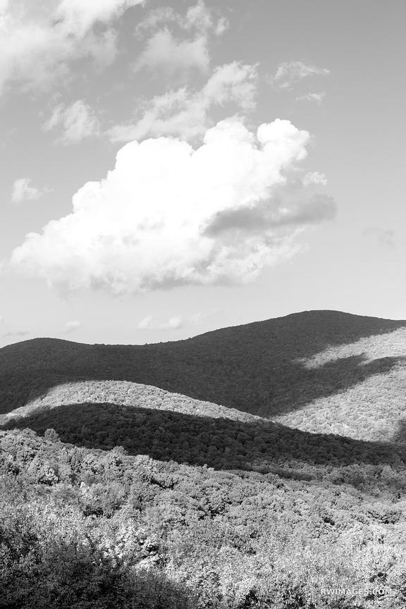 BLUE RIDGE MOUNTAINS SKYLINE DRIVE SHENANDOAH NATIONAL PARK VIRGINIA BLACK AND WHITE VERTICAL