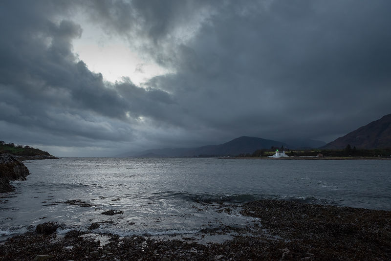 Corran Point Lighthouse, rain storm clearing