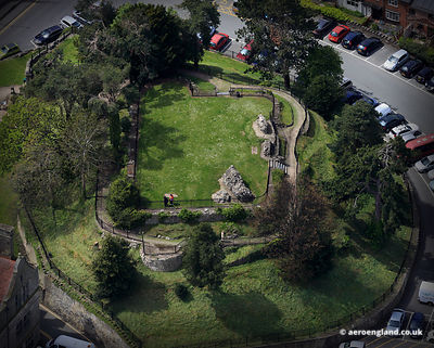 aerial photograph of Oswestry Castle, Shropshire UK.