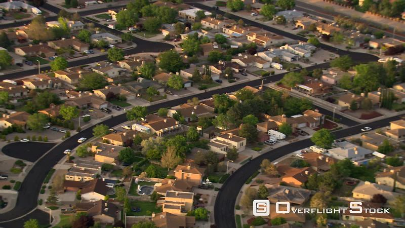 Flying past Albuquerque suburban residential areas.
