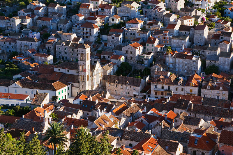Elevated view of the Cathedral and Hvar Town, Hvar Island, Croatia