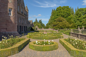 Gardens at Glamis Castle in Scotland. Glamis Castle is situated close to the village of Glamis in Angus. It is the home of th...