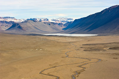 Aerial view of the River Onyx, the only running river in Antarctica, Dry Valleys, December 2009. Taken on location for the BB...