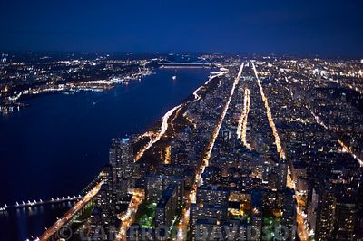 Aerial of Manhattan and the Hudson River at night