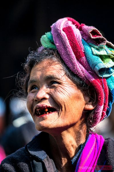 Portrait of old burmese woman of Paoh tribe, Myanmar
