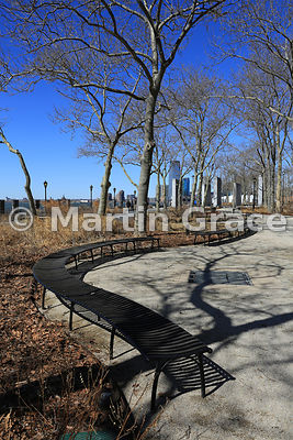 Battery Park, Lower Manhattan, in winter, New York, USA